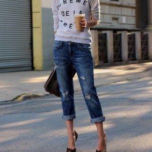 Free People Distressed Boyfriend Jeans